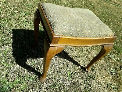 1910 Victorian? Antique Vintage Wood Stool w Fabric Seat Piano Dressing Table