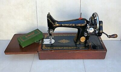 Early 20th Singer 99K Sewing Machine With Shagreen Style Case & Accessories. VGC