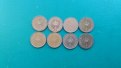 British Queen Elizabeth II New Half Penny ½p Coins x 8 - Various Dates