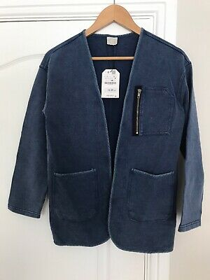 Zara Girls Blue Jacket With Zip Detail Age 11-12 New