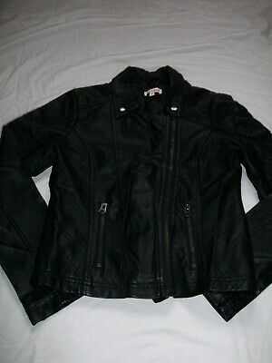 Blue Zoo girls black leather look jacket, aged 11 years