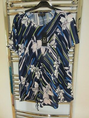 NEXT MATERNITY SHORT SLEEVE TOP SHIRT BLOUSE Size 10 BNWT £26 BLUES & WHITE