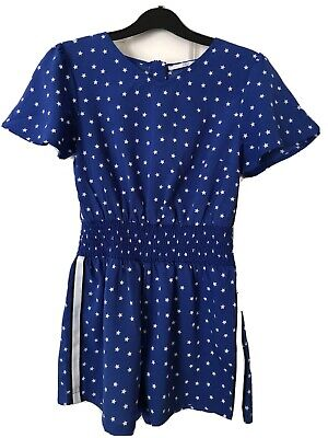 Girls Playsuit Age 9 - 10 Years. M&S Blue With White Stars