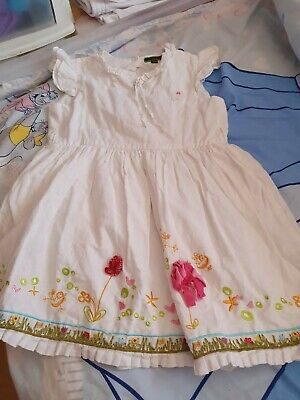 Oilily Girls White Dress With Flowered Hem Age 5-6