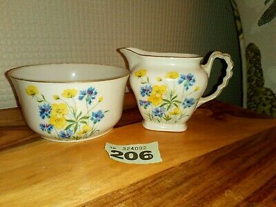 Vintage Czecho - Slovakia Milk Jug And Sugar Bowl