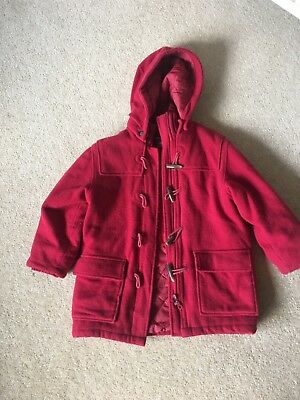 Girls Red H&M Red Duffle Coat Age 5-6 ideal school
