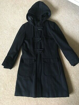 Next Girl's Black Wool Duffle Coat Age 9-10 Hardly Worn ideal School