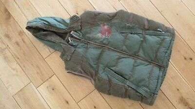 FAT FACE Boys Padded Hooded Green Gilet / Body Warmer Age 8-9