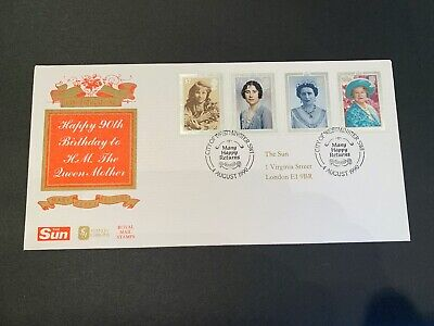 The Sun FDC - Queen Mother 90th Birthday - Westminster Postmark 1990