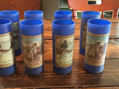 Set of 8 Beam's Choice Collectors Edition Volume 4 Highball Glasses Rare Blue