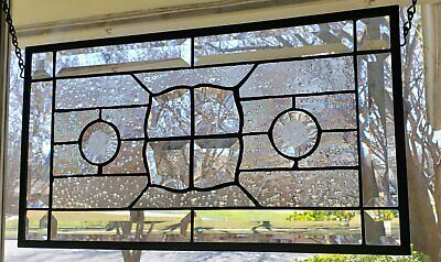 Clear, Iridized, Beveled, Stained Glass Window Panel, Hanging, Transom,Sidelight