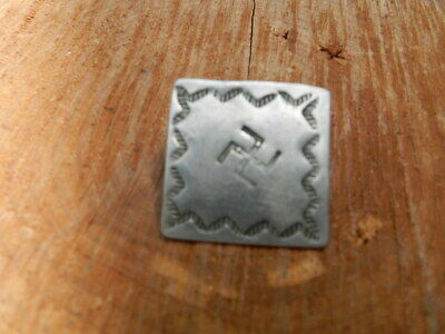 """Nice Antique Navajo Silver Button With Swastika, 1""""x1"""""""