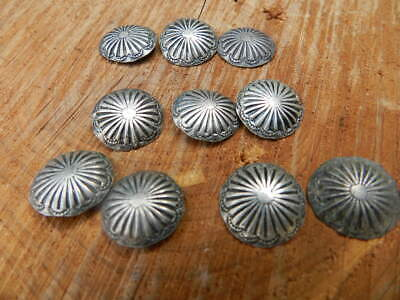 Nice Antique Lot Of Nine Navajo Stamped Silver Buttons, No Reserve!