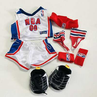Build A Bear NBA Basketball Outfit Red White Blue Jersey Shorts Sneakers Shoes