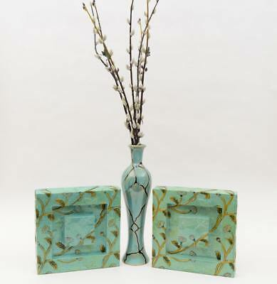 turquoise teal art Flower VASE w/ matching metal art panels matching color