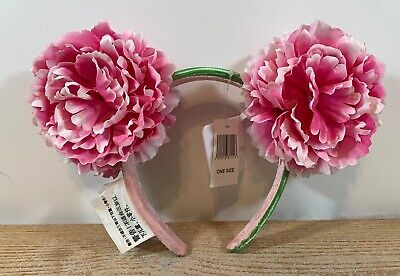 Disney Parks Spring Floral Minnie Mouse Flower Garden Pink Peony Ears Headband