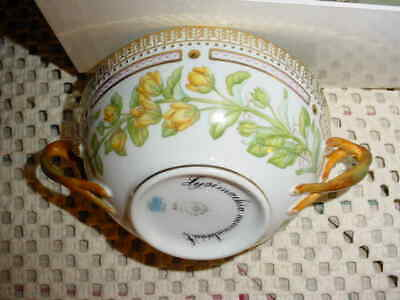 Royal Copenhagen Flora Danica  Double-Handled Cream Soup Bowl & Saucer #20  3612