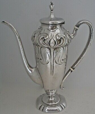 Gorham Art Nouveau Sterling Hand Chased Early Sample Coffee Pot Martele 1899