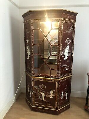 Vintage Antique Style Oriental Cherry Red Chinese Cabinet