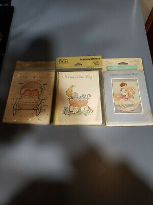 Carlton Cards Birth Announcements 2 Unopened Packages & 1  Gibson Birth...