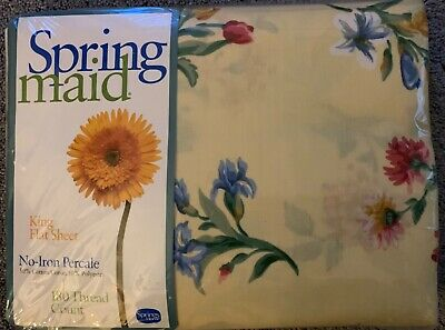 Vintage Spring Maid King Size Flat Sheet Summer Days Yellow Floral NIP Percale