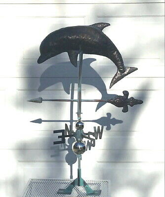 LEAPING DOLPHIN Weather vane AGED COPPER FINISH- HANDCRAFTED & FUNCTIONAL- NEW