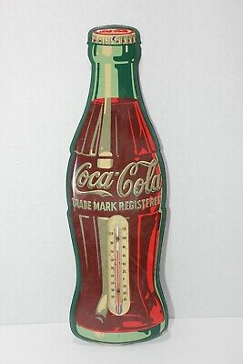Vintage Metal Working Coca Cola Bottle Advertising Thermometer