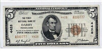 "$5 1929 T2 National DARBY Pennsylvania PA ""Mega Rare"" ((Only 1 on Census)) Fancy"