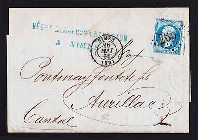 France Napoleon 20C Blue On Bluish Folded Letter Nîmes To Aurillac 1866