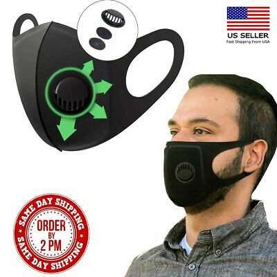 Face Mask - Washable Reusable w/Breathing Valve Cozy Nose & Mouth Protection