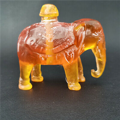 old Collected ancient natural Transparent Resin Elephant snuff bottle china