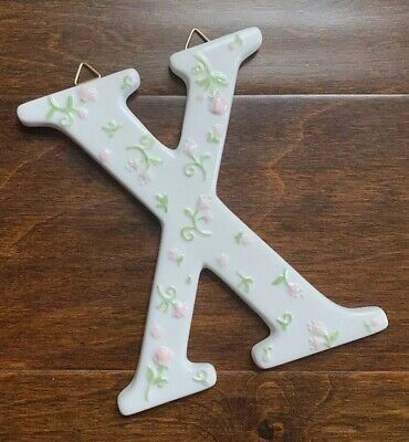 """Pink Floral Ceramic Alphabet Letter """"X"""" Name Initial Baby Nursery Childs Room"""