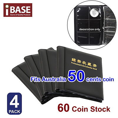 4x Coin Album Holder Storage Collection Collecting Stock Pocket 60 Slots 50 cent