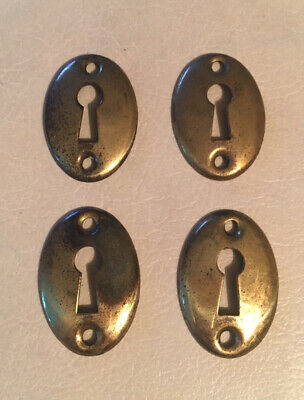4 Vintage SOLID Brass Oval Key Hole Escutcheon Covers Reclaimed Hardware