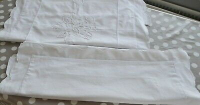 lovely pair of vintage irish cotton oxford pillowcases. lovely detail. exc cond