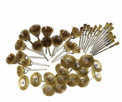 45 x  Shank Gold Steel Wire Wheel Brush Cup Rotary Tool for Drill Rust Weld