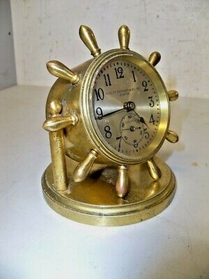 Vintage Chelsea Ships Wheel Desk Clock W Seconds Bit
