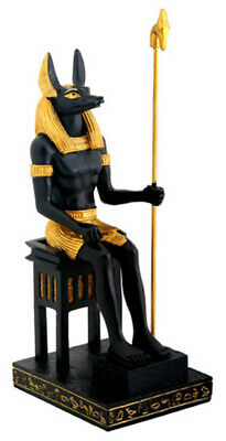 Egyptian God Anubis Figurine Seated on Throne E7049