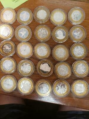 25 CASINO .999 Silver $10 Gaming Tokens, mostly VEGAS & IOWA