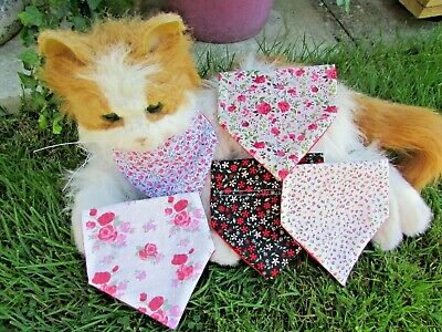 Tiny Dog or Cat Collar Bandanna Pretty Pinks & Black Floral Fabric Patterns