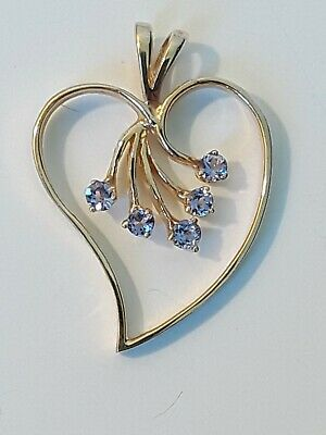 Tanzanite Crystal and Yellow Gold Plated Heart Pendant Enhancer