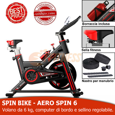 Bici Da Spinning Volano 6Kg Cardio Spinbike Cyclette Fitness Bicicletta Casa Lcd