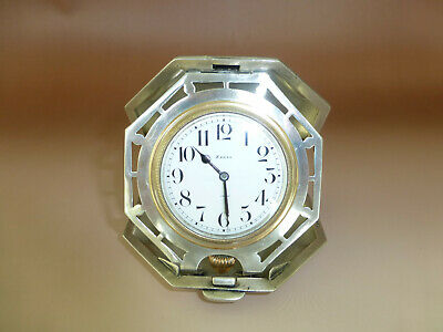 Antique Sterling Silver 8 Day Swiss Travel Clock 15 jewel Movement (Watch Video)