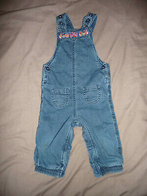 M&S baby girls' lined denim dungarees with some embroidery - 9-12 months - EXC