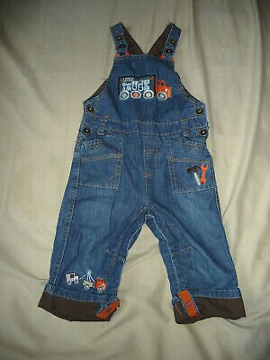 TU baby boys' denim dungarees with truck details - 9-12 months - EXC