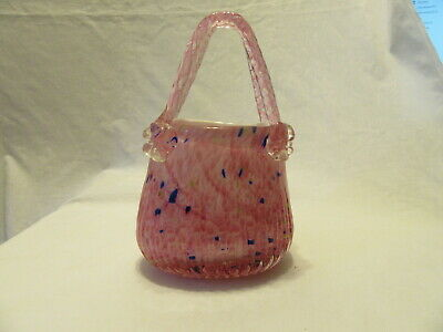Fifth Avenue Crystal Art Glass Pink Purse