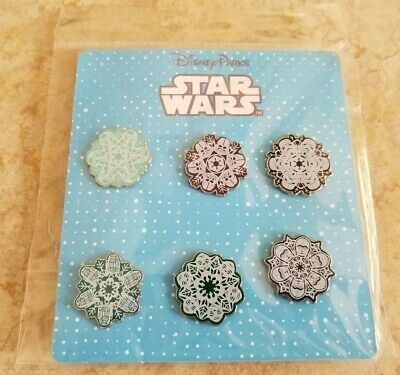 New Disney Trading Pins Lot of 6 Full Set Star Wars Snowflakes Yoda R2-D2 Darth