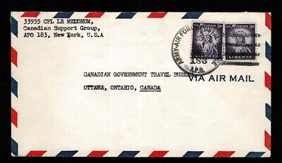 Canadian Support Group 1956 USA APO 183 New York Army Air Force Postal station