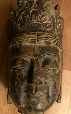 Vintage Asian Hand Carved Stone Budha Bust