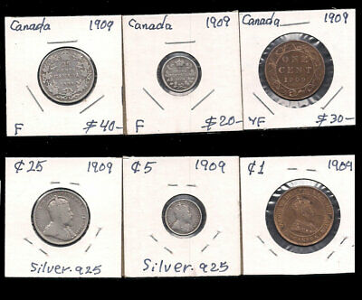 Canada - Large Cent,5,25 Cents 1909 Silver Cv $90